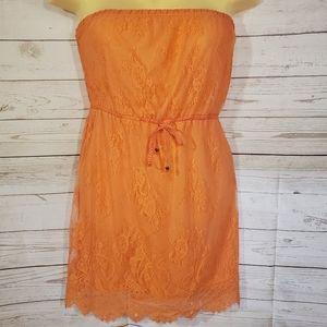 NWT Aeropostale Bright Orange Strapless Dress